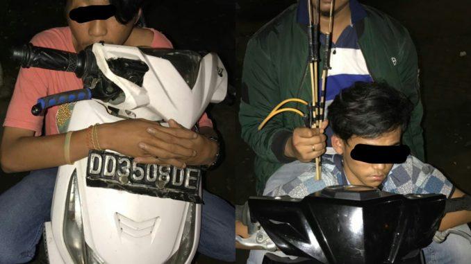 Dua remaja di Makassar diamankan atas kepemilikan busur dan anak panah.(ist)