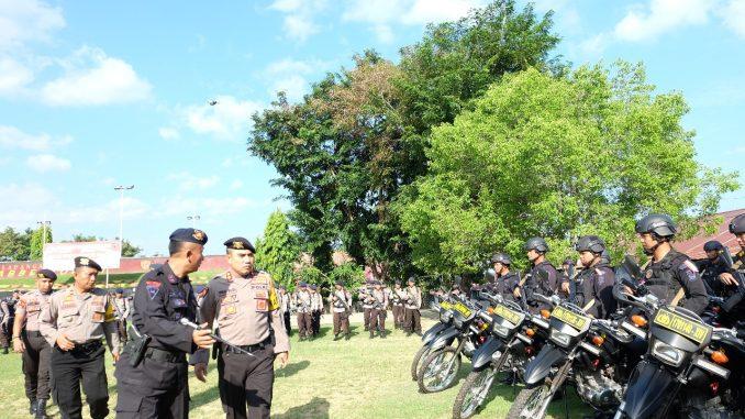 Polres Parepare bersama Brimob Detasemen B Polda Sulsel menggelar Apel Siaga Pasukan.(ist)