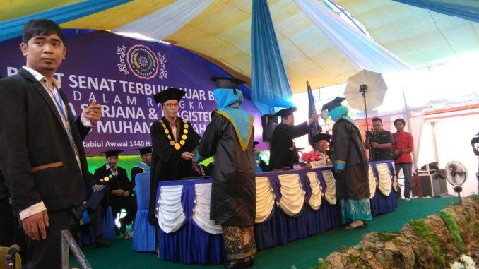 Acara Wisuda di Kampus Universitas Muhammadiyah Parepare, Kamis 15 November 2018.