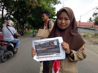 Anggota Pramuka dari Saka Bhayangkara dan Ambalan menggelar penggalangan dana buat korban bencana Tsunami di Selat Sunda.