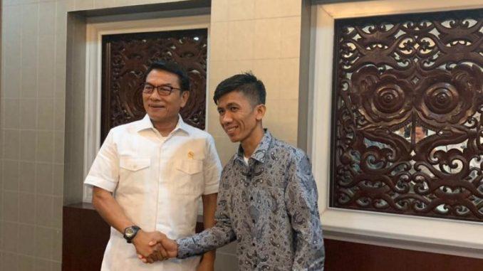 Haerul bersalaman dengan Kepala Staf Presiden, Moeldoko di Komplek Istana Presiden, Selasa (21/1/2020).