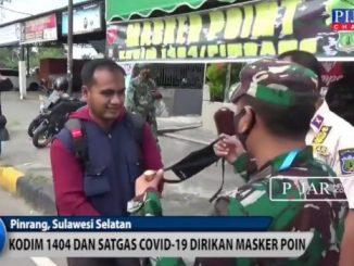 Video : Kodim 1404 Pinrang Dan Tim Covid-19 Dirikan Masker Poin