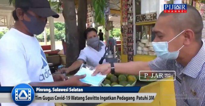 Video : Tim Gugus Covid-19 Kecamatan Watang Sawitto Ingatkan Pedangang Patuhi 3M